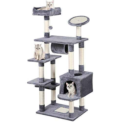 - Yaheetech 62-inch Cat Tree Condo with Scratching Post Plush Perch and Tunnel, Cat Tower Furniture Gray