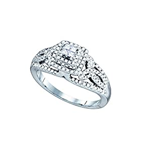 14kt White Gold Womens Princess Diamond Cluster Bridal Wedding Engagement Ring 1/2 Cttw