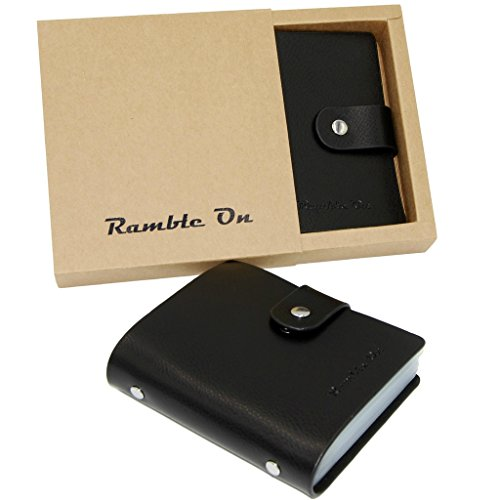 Genuine Leather Business Card Holder Book Organizer Credit Card Holder Case Gift Card Holder by Ramble On - Holds up to 80 Business Cards or 40 Credit Cards - Comes in a Great Gift Box (Black) by Ramble On