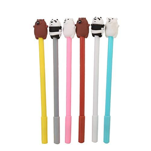 Newaey Fashion Cute Colorful Kawaii Lovely Colorful Animal Polar Bear Brown Bear Panda Gel Ball Pens Office School Supply Stationery pen(6PCS)