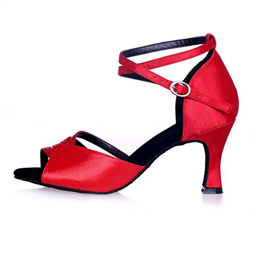 L@YC Frauen Tanzschuhe Latin / Ballroom Suede / Kunstleder absatzhöhe 7.5cm / Multicolor Red