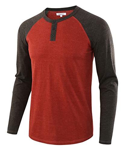 Vetemin Men's Casual Vintage Long Sleeve Raglan Henley Shirts Baseball T-Shirt H.Rusty/H.Charcoal L