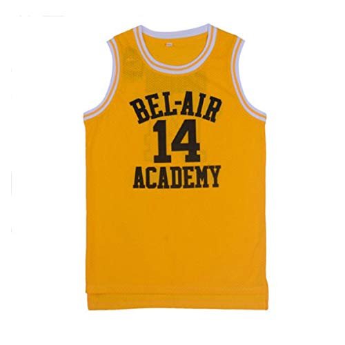 oldtimetown Will Smith #14 Bel Air Academy Yellow Basketball Jersey S-XXXL, 90S Hip Hop Clothing for Party, Stitched Letters and Numbers]()