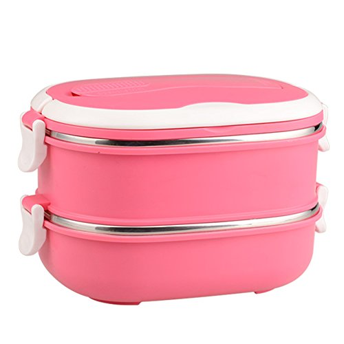 Mr.Dakai Stainless Steel Insulated Square Lunch Box for Children, Kids and Adult, Portable Picnic Storage Boxes, School Student Food Container with Spoon (Pink / 1 Tier)