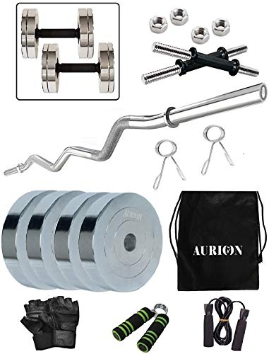 Aurion 12 Kg Chrome Steel Weight Plates Home Gym Pack