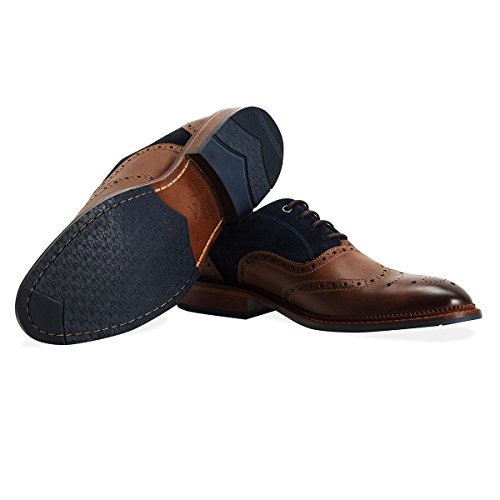 Goodwin Smith Hesket Daim / Cuir Hommes Oxford Brogue Chaussures Tan