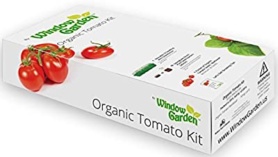 Window Garden Organic Tomato Grow Kit - Easy To Grow Vegetable Seed Kit, Includes a 10 Cavity Mini Greenhouse, Fiber Soil Seed Starters and Non GMO Organic Seeds. Great Gift for Men, Women and Kids.