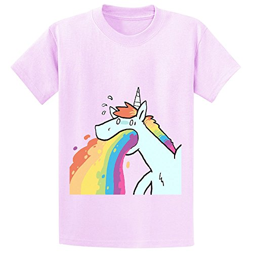 Andy Rainbow Unicorn Cute Unisex Crew Neck Print Tee Pink (Lakers Cheerleading Outfit)