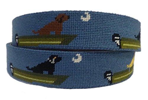 Charleston Belt Leather Needlepoint Belt with Labrador Retriever Dog and Boat Design (40) (Needlepoint Lab Yellow)