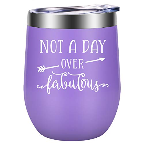 Not a Day Over Fabulous - Fun Birthday Gifts for Women - Funny Birthday Wine Gift Ideas for Her, Best Friend BFF, Mom, Grandma, Wife, Daughter, Sister, Aunt, Coworker - LEADO Birthday Wine Tumbler