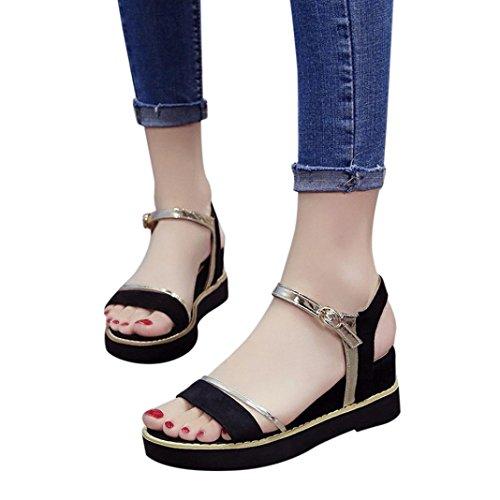 (Sandals AmyDong Summer Increase Muffin Sandals Fish Head Sandals Platform Sandals Simple Shoes (US 6, Black))