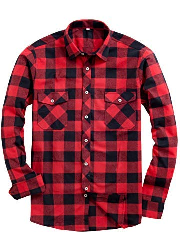 (Alimens & Gentle Men's Button Down Regular Fit Long Sleeve Plaid Flannel Casual Shirts Color: Red, Size:)