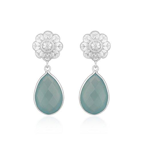 Chalcedony Floral Earrings - Floral Design Fine Sterling Silver Chalcedony Drop Earrings