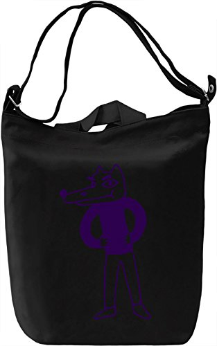 Doodle wolf Borsa Giornaliera Canvas Canvas Day Bag| 100% Premium Cotton Canvas| DTG Printing|