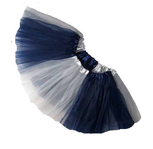 [Southern Wrag Company ADULT TEAM SPIRIT Tutu NAVY GREY Sizes S-XXL (L:TUTU WAIST 30-56)] (Dallas Cowboys Cheerleader Adult Plus Costumes)