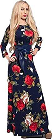 Size L Elegant Flower Design Maxi Evening Dress For Women (with Belt))