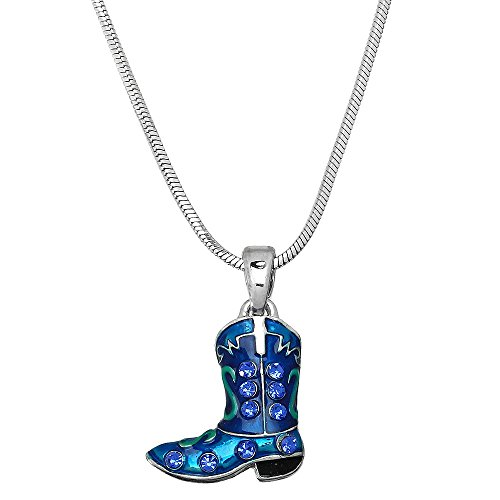 Liavy's Cowboy Boot Charm Pendant Fashionable Necklace - Enamel - Sparkling Crystal - 17