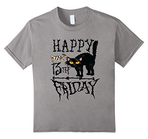 Friday The 13th Girl Costumes (Kids Happy Friday 13th Black Cat Scary Halloween Shirt 6 Slate)
