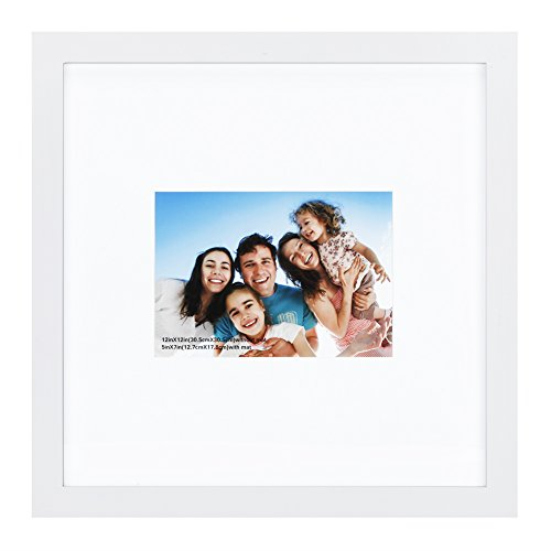 (12x12 inch Picture Frame Made of Solid Wood and High Definition Glass Display Pictures 5x7 with Mat or 12x12 Without Mat for Wall Mounting Photo Frame White)