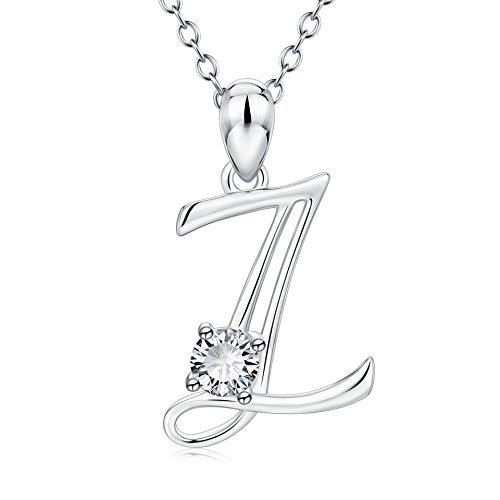 YFN Initial Necklace Sterling Silver Letter Z Alphabet Pendant Necklace Jewelry for Women Teen Girls