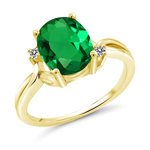 Gem Stone King 2.23 Ct Oval Green Simulated Emerald White Diamond 14K Yellow Gold Ring (Size 6)