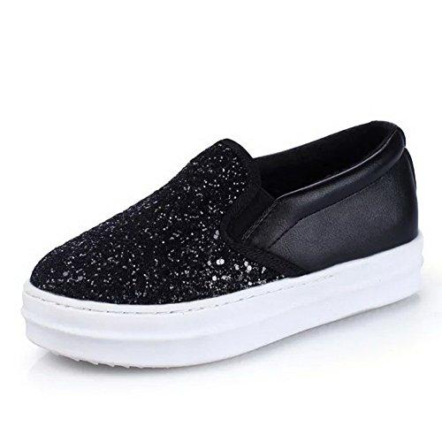 BalaMasa Womens Platform Glitter Pull-On Urethane Flats-Shoes Black ohbMBWJKp