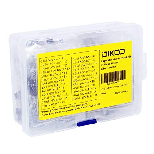 525Pcs Electrolytic Capacitor Kit 25-Value Aluminum Electrolytic Capacitor Assortment 10V 16V 25V 50V Assorted Radial Range 0.1uF-1000uF