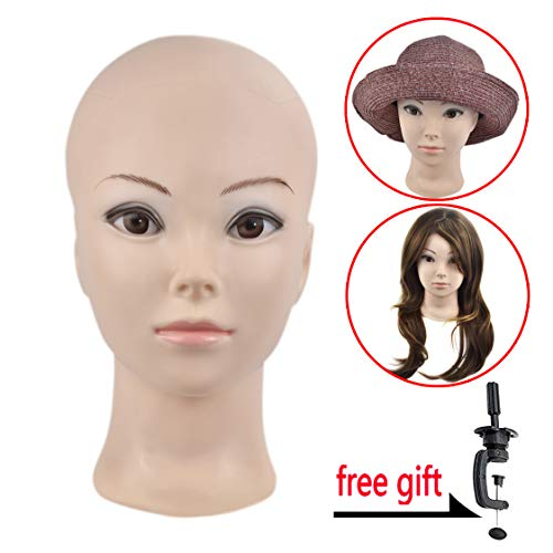Female Professional Cosmetology Bald Mannequin Head for Making wigs, Displaying Wigs,Glasses,Hair with Free Clamp