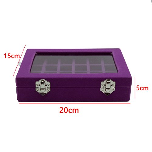 0fa9fbbc9 VANCORE Velvet Glass Jewelry Ring Display Organizer Box Tray Holder  Earrings Storage Case Perfect Gift for