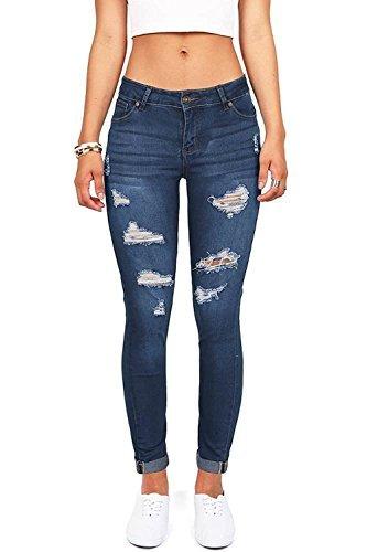 Spandex Zip Fly Jeans - Wax Denim Women\\\'s Juniors Distressed Slim Fit Stretchy Skinny Jeans, Dark Denim, 18\''