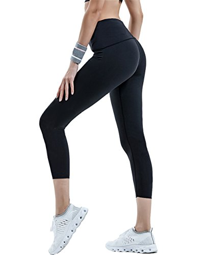 FIRM ABS Yoga Pants Mid-Waist Leggings w Hidden Pocket Black Medium