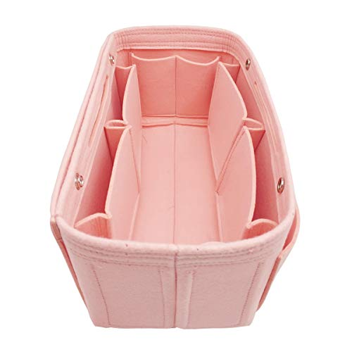 LEXSION Felt Fabric Purse Handbag Organizer Bag - MultiPocket Insert Bag 8008 Pink -