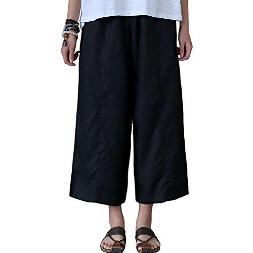 Aeneontrue Women's 100% Linen Capri Pants Casual Patchwork Cropped Trousers with Elastic Waist Black S