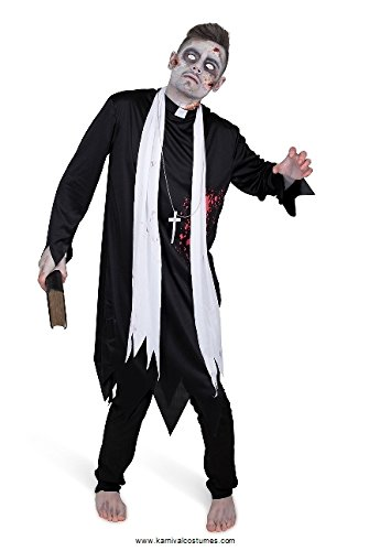 Men's Zombie Priest Costume, for Halloween Costume Party Accessory, Large Black and -