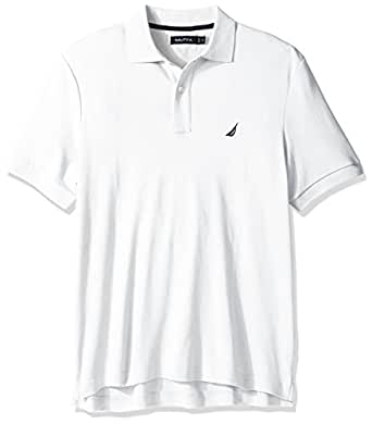 Nautica Mens Classic Fit Short Sleeve Solid Soft Cotton Polo Shirt Short Sleeve Polo Shirt - White - Small