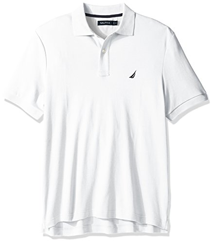 Nautica Men's Classic Fit Short Sleeve Solid Soft Cotton Polo Shirt, Bright White, Medium
