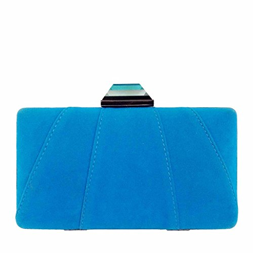- JNB Women's Microsuede Patch Stitch Box Clutch, Turquoise