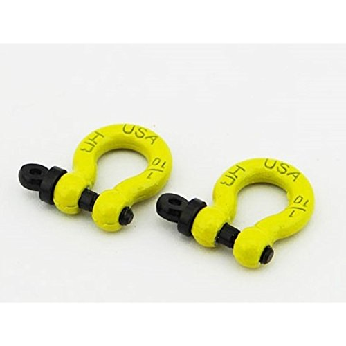 Hot Racing ACC808X04 1/10 Scale Aluminum Yellow Tow Shackle D-Rings (2)