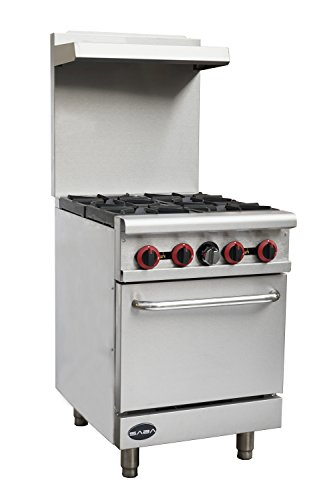 Heavy Duty Commercial 24″ Gas 4 Burner Range with Oven