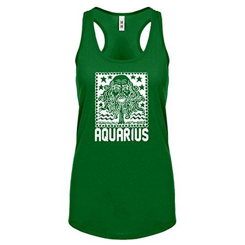 Racerback Aquarius Zodiac Astrology Small Kelly Green Womens Tank Top ()