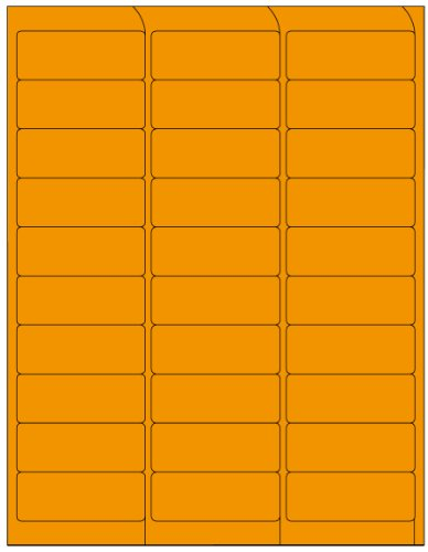 (Compulabel 311207 Fluorescent Orange Address Labels for Laser Printers, 2 5/8 x 1 Inch, Permanent Adhesive, 30 per Sheet, 100 Sheets per Carton)