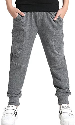 Kids Cotton Pull On Active Sports Basic Jogger Sweat Pants for Little Boys & Big Boys, Grey, Age 7T-8T (7-8 Years) = Tag 140