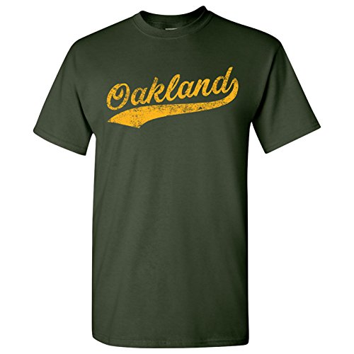 fan products of Oakland City Script - Baseball, League, Homerun, Majors, Hometown Pride T-Shirt - Large - Forest