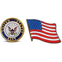 Patriotic U.S. Navy & American Flag Lapel or Hat Pin & Tie Tack Set with Clutch Back by Novel Merk