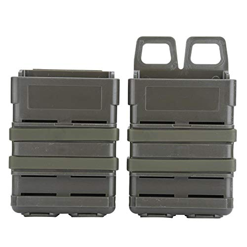 Fast Mag Pouch Box,ABS Tactical Magazine Pouch Bag Holster Molle Strike System for 5.56 Mags(Green)