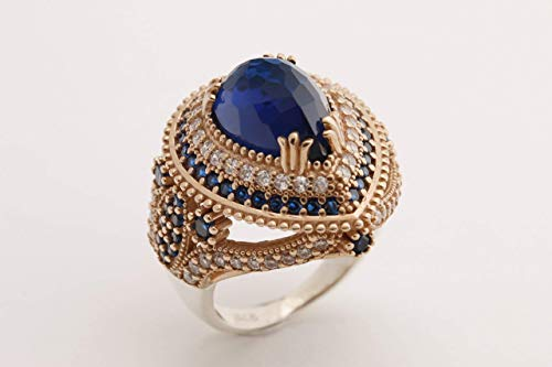 Turkish Handmade Jewelry Drop Shape Pear Cut Sapphire and Round Cut Topaz 925 Sterling Silver Ring Size Options