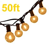 Brimax G40 Outdoor Garden String Lights 50ft Garden Patio Outside String Lights,IP45 Waterproof Outdoor Indoor String Lights for Terrace Patio Xmas, 50ft G40 50 LED Bulb