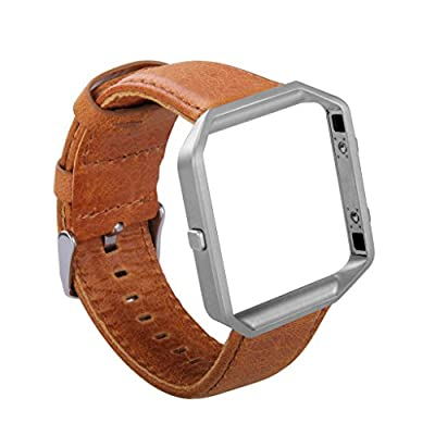KADES Fitbit Blaze Leather Retro Cowhide Bands + Stainless Steel Frame for Fitbit Blaze Smart Fitness Watch