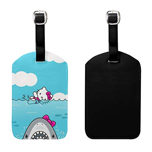 PU Leather Luggage Tags Hello Kitty and Shark Suitcase Labels Bag Adjustable Leather Strap Travel Accessories - Set of 2 ()