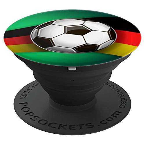 Soccer Ball on Germany Flag Swish Background Tech Gifts - PopSockets Grip and Stand for Phones and Tablets for $<!--$14.99-->